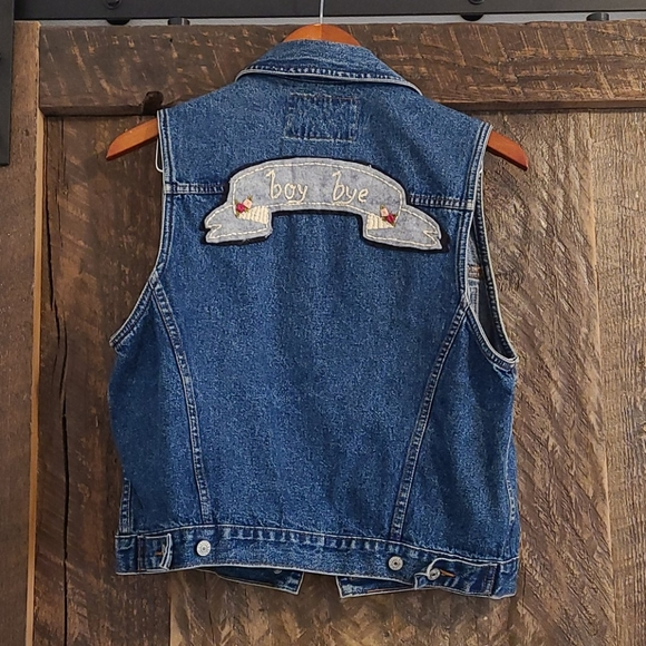 Levi's denim vest with handmade back patch
